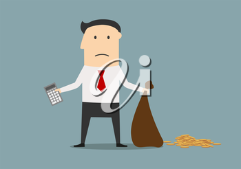 Unhappy businessman declaring bankruptcy and showing empty bag and calculator. Bankruptcy, financial crisis or failure concept