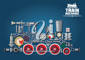 Steam locomotive train made up of mechanical parts as steam engine, power transmission system, gearbox, cogwheels, colorful pressure gauges, valves, running gears with red wheels, cylinders, pipe, hea