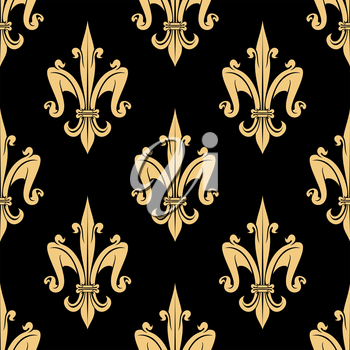 Luxury golden fleur-de-lis seamless pattern with royal floral ornament on black background. Usage for wallpaper or interior textile design
