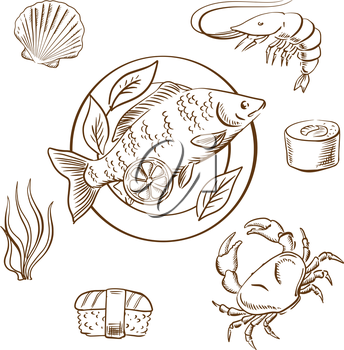 Seafood delicatessen with shrimp, sushi roll, crab, sushi nigiri, seaweed and shellfish, served on plate with lemon slices and salad leaves. Sketch style vector