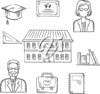 School education sketch design with a school building surrounded by icons depicting male and female teachers, books, briefcase, graduation hat, tablet, notebook and school building. Sketch style vecto