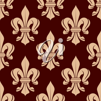 Vintage seamless floral pattern of french royal beige fleur-de-lis symbols over maroon background. Great for heraldic background or interior textile and accessories design