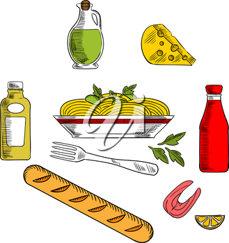 Italian pasta food icons design with italian spaghetti, sauce and basil encircled by bottles of olive oil, tomato and mustard sauces, fork, cheese, ciabatta bread and salmon fish