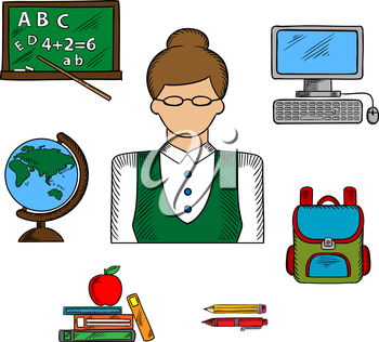 Teacher profession and education icons with woman in glasses surrounded by school supplies such as schoolbag, blackboard and desktop computer, globe and pen, pencil, books and apple