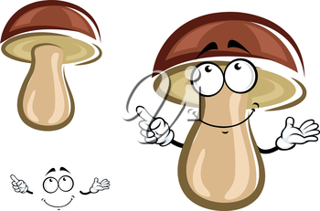 Forest birch mushroom cartoon character with brown hat shy smile isolated on white background