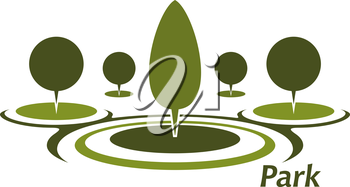 Green park abstract icon with round green lawns and trimmed decorative trees for nature or landscape design
