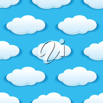 Seamless pattern of white clouds on blue sky for wallpaper or background design