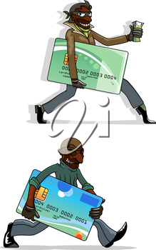 African american thieves cartoon characters with stolen plastic bank cards and money in hands. For cyber crime or criminal theme concept