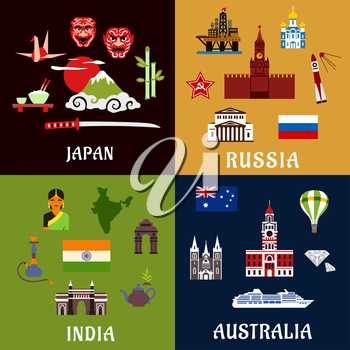 Japan, Russia, India and Australia travel flat icons with architecture landmarks, culture, industry, religion and national symbols