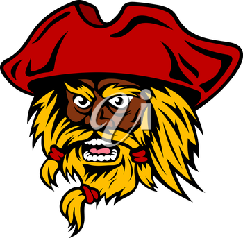 Aggressive bearded pirate captain cartoon character in red hat, shouts with wide open mouth. Nautical travel or adventure concept