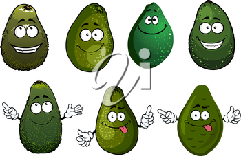 Cartoon healthy organic dark green avocado fruits characters with funny faces, isolated on white. For vegetarian food or agriculture harvest design