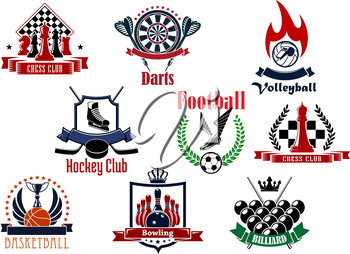 Sport game icons or emblems with football or soccer, chess, volleyball, ice hockey, darts, basketball, bowling and billiards items with heraldic elements