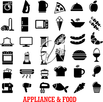 Food and home appliance flat icons with coffee, chicken leg, refrigerator, iron, microwave, tv, stove, vacuum, blender, pizza, washing machine, cake dish, fan fish toaster kettle apple french fries
