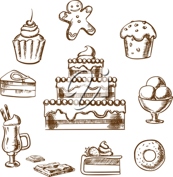 Sweet desserts icons with three tiered cake decorated with cream, berries, cupcakes, ice cream, donut, slices of honey cake and cheesecake, gingerbread man and hot chocolate. Sketch style