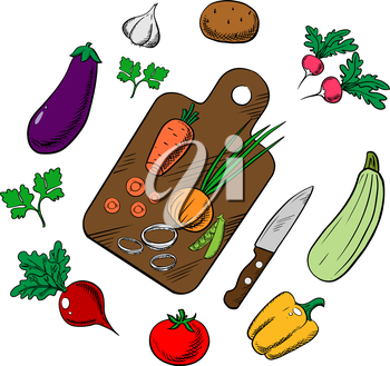 Cooking process of a vegetarian salad with knife, chopping board and tomato, carrot, green pea, onion, potato, bell pepper, garlic, radish beet, eggplant zucchini parsley vegetables. Sketch vector