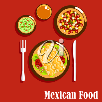 Spicy mexican cuisine food icons of enchiladas, served with beans, tomatoes and cheese sauce, green salsa verde and red salsa roja sauces with herbs and chilli pepper, summer salad with vegetables
