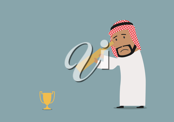 Sad cartoon arabian businessman looking at small golden trophy cup through spyglass. Business competition or disappointment theme usage