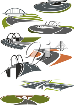 Icons of asphalt roads and highways with bridges