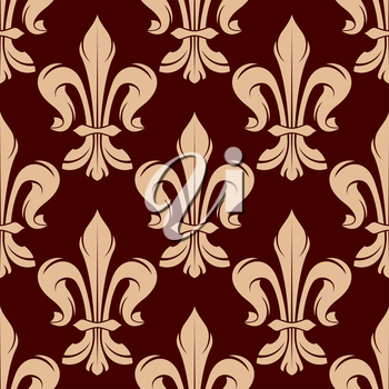 Victorian heraldic floral seamless pattern for royal backdrop, wallpaper or interior design with beige fleur-de-lis ornament on maroon background