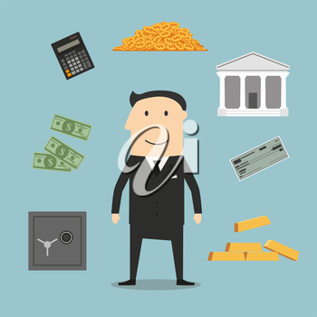 Banker profession and financial icons with businessman and gold, safe and check,  dollar coins and bills, calculator and bank building