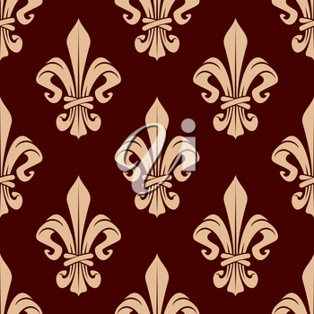 French heraldic floral pattern with seamless ornament of delicate peach fleur-de-lis over maroon background. May be used as interior or wallpaper design