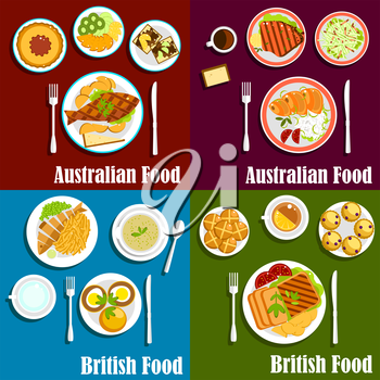 British and australian dishes served with grilled lamb and beef steaks, salted salmon, meat pie, egg sandwiches, vegetables and fruits, green pea soup, toasts, scones buns and hot beverages