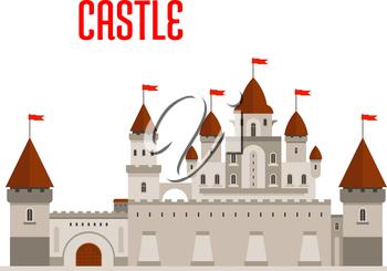 Fantasy royal castle building with beautiful palace in roman style with balconies, round turrets, conical roofs and flags, protected by guardhouse, curtain walls and corner towers. Fairytale, game and