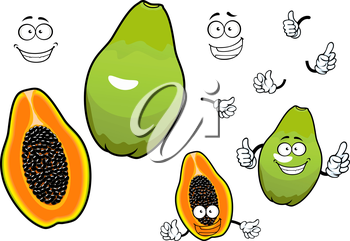 Whole and halved mexican tropical papaya fruit cartoon characters with joyful smiling faces. Great for recipe book, vegetarian menu, kitchen interior accessories design