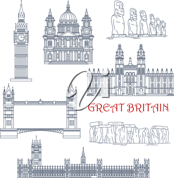 Linear architecture and historical landmarks of Great Britain and Chile for travel and tourism design with thin line icons of Big Ben, Stonehenge, Tower Bridge, Windsor Castle and St Paul Cathedral an