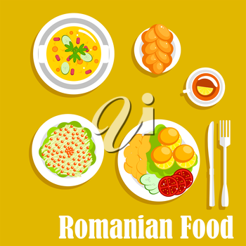 Romanian vegetarian dinner icon with cornmeal mush mamaliga served with fried potatoes and fresh tomatoes and cucumbers on the side, pickled cabbage salad, topped with cranberries fruits, vegetarian b
