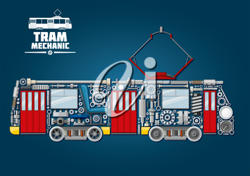 Town tram mechanics icon for public transportation service design usage with tramcar made up of mechanical gears, doors and windows, pantograph and motor bogies, steel wheels and absorbers, axles and