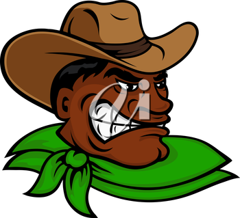 Brutal cartoon western rodeo cowboy or rancher character with angry dark skinned man, wearing brown hat and green neckerchief. Great for farming or rodeo themes and adventure book design