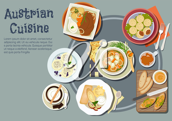 Nutritious austrian dinner and viennese desserts icon with open sandwiches topped with liptauer spread, goulash and pork dumplings, baked pork with boiled potatoes and garlic sauce, cups of coffee wit