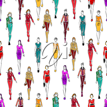 Seamless fashion models pattern for fashion theme or scrapbook page backdrop design with sketch silhouettes of women in elegant business attire, cocktail dresses and modern casual everyday clothes on