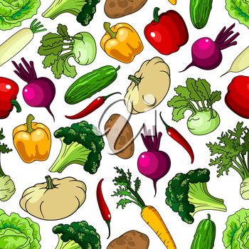 Bright background with seamless pattern of fresh picked broccoli and cabbages, cucumbers and potatoes, chili and bell peppers, beetroots and carrots, kohlrabies and daikon, squashes and celery vegetab