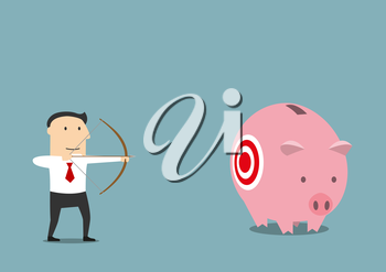 Cartoon businessman with bow and arrow is hunting for someone elses piggy bank with savings. May be use as business theft, criminal or illegal earnings themes design