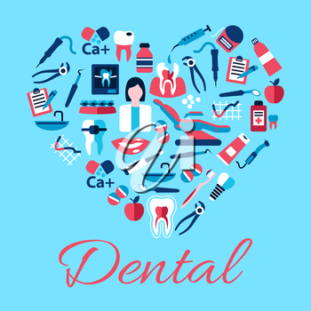 Dentist with tools and equipments symbols arranged into a shape of a heart with flat icons of healthy and carious teeth, pills and syringes, toothbrushes and toothpastes, implant, braces and floss, cl