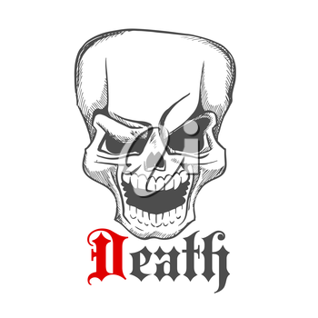 Cartoon creepy laughing human skull with wide open mouth sketch symbol. Great for tattoo, t-shirt print or jewelry design usage