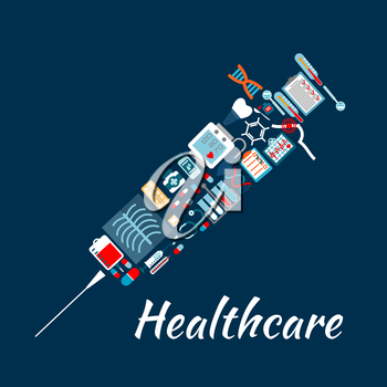 Medical examination and laboratory analysis flat icons creating a symbol of syringe with check-up forms and medicines, test tubes, blood bag, stethoscope and thermometer, tooth implant and dentist mir
