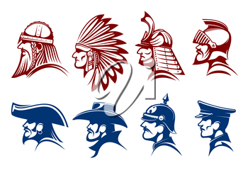 Pirate and cowboy, viking warrior and native american indian, medieval knight and japanese samurai, general of prussian army and german soldier icons with blue and brown profiles of brave men