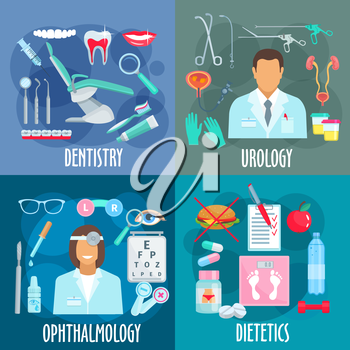 Medical branches flat design concept with icons of dentistry with dentist tools, urology with urologist, instruments and treatments, ophthalmology with optometrist and visual acuity test, dietetics wi