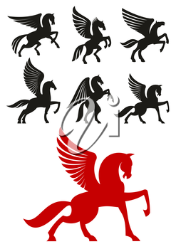 Pegasus horses silhouettes of prancing and rearing up winged horses with raised and folded wings. Heraldic theme or t-shirt print design