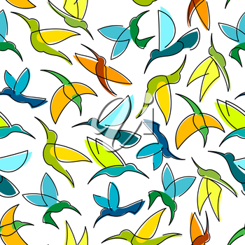 Flying hummingbirds seamless pattern with colorful silhouettes of tropical birds randomly scattered over white background. Tropical nature theme or interior design