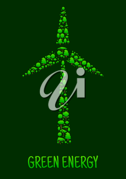Green Energy poster. Wind turbine mill icon with green trees. Natural energy source element