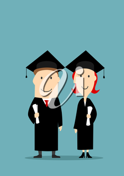Graduates holding diploma certificates. Smiling bachelors boy and girl in graduation black mantle and cap. University and college students education concept