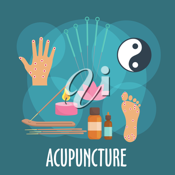 Alternative medicine icon with flat symbols of acupuncture needles, foot and palm with acupoints, incense sticks in holder, candle and essential oil bottles, yin and yang sign, pink flower of sacred l