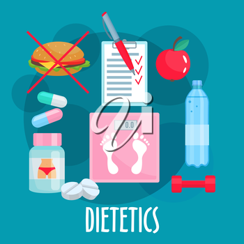 Dietetics, nutrition and healthy lifestyle symbol with weight loss tips such as fresh apple fruit, prohibition sign of fast food, bottle of water and food diary, dumbbell, vitamins, diet pills and sca