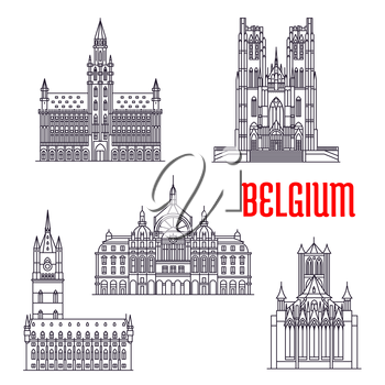 Famous historic buildings of Belgium. Vector thin line icons of Town Hall, Michael and Gudula Cathedral, Cloth Hall, Central Station, Peter Church Leuven. Belgian architecture symbols for souvenirs, p