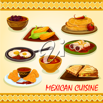 Mexican cuisine spicy dishes icon with tortillas, burrito, tortilla sandwiches with beef and vegetables, nacho with tomato sauce salsa, boiled corn, bean stew, spicy eggs rancheros, chili soup