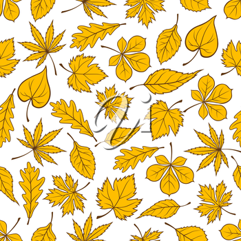 Autumn leaves seamless pattern on white background with yellow fallen leaves of autumnal forest trees. Autumn nature theme or interior design